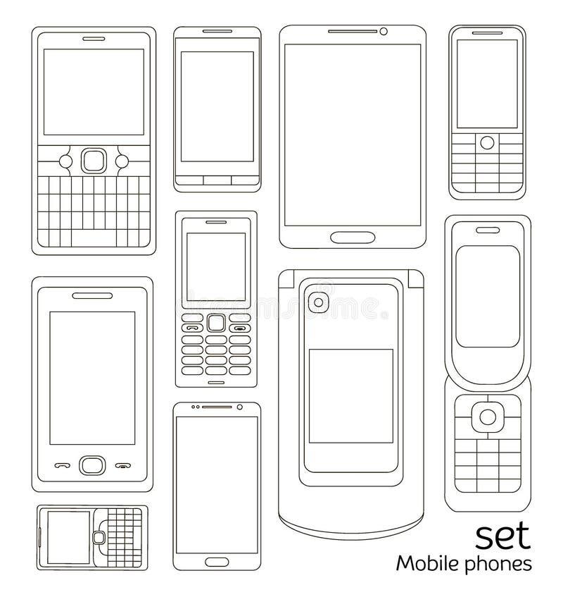 Grupo de telefones celulares ilustração do vetor