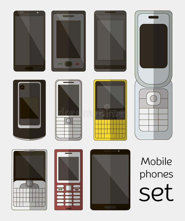 Grupo de telefones celulares ilustração stock