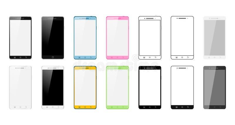 Grupo de telefones espertos feitos em estilos diferentes: Ícone realístico, liso, linear, colorido Ilustração do vetor de 14 pilh ilustração stock