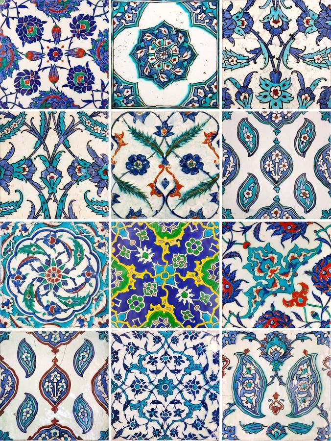 Grupo de telhas feitos a mão tradicionais antigas - ornamento islâmicos ilustração royalty free
