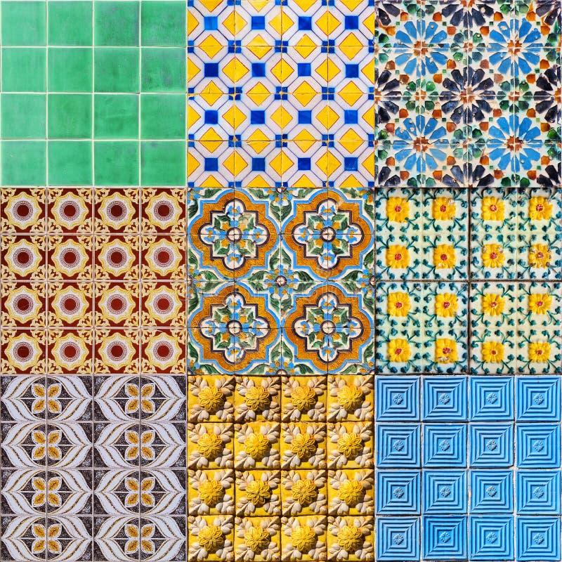 Grupo de telhas portuguesas foto de stock