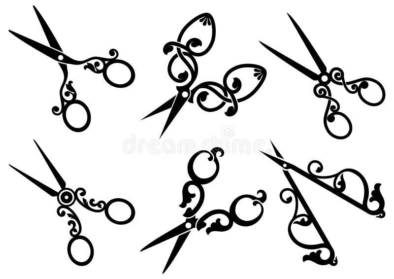 Grupo de tesouras retros. ilustração royalty free