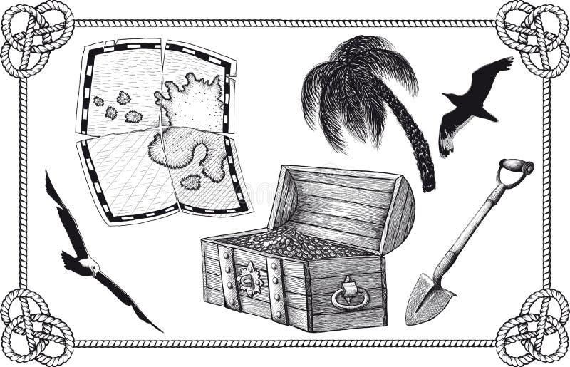 Grupo de tesouro do pirata ilustração stock