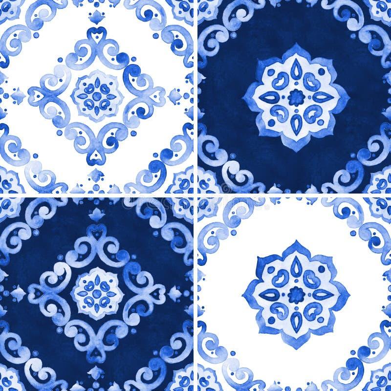 Grupo de teste padrão do azul da aquarela foto de stock