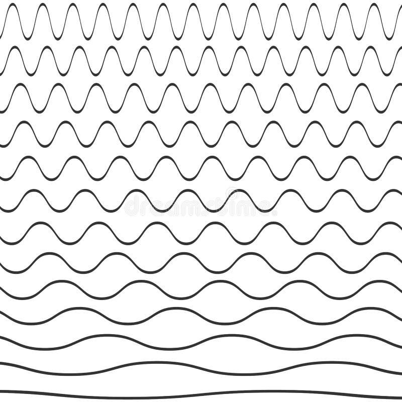 Grupo de teste padrão ondulado ilustração stock