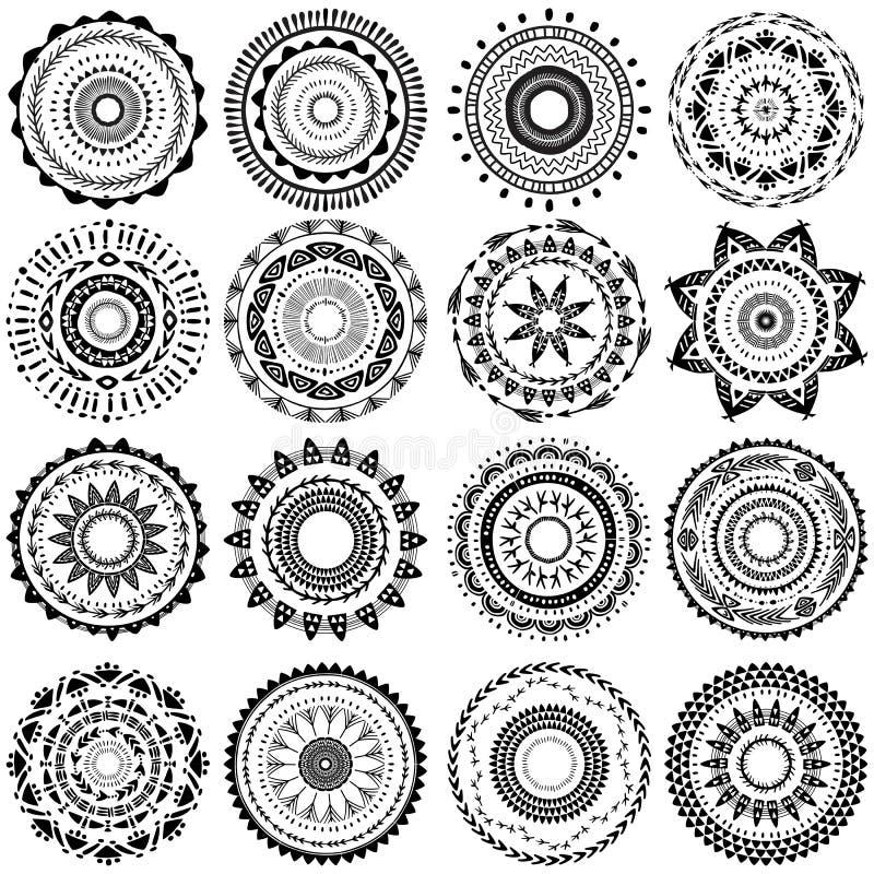 Grupo de teste padrão redondo do ornamento ilustração royalty free