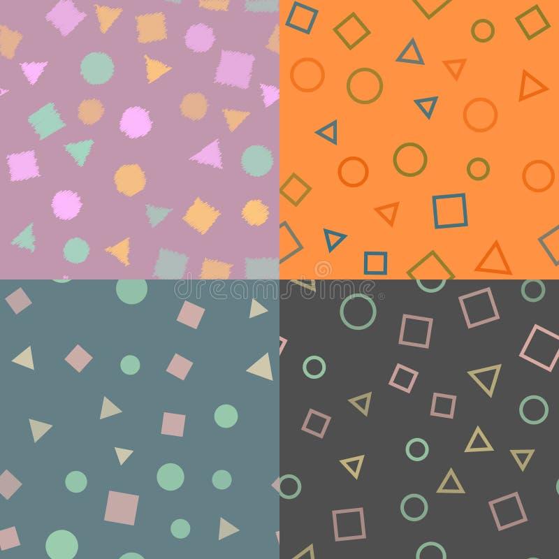 Grupo de teste padrão sem emenda com figuras geométricas Teste padrão da textura Vetor ilustração do vetor