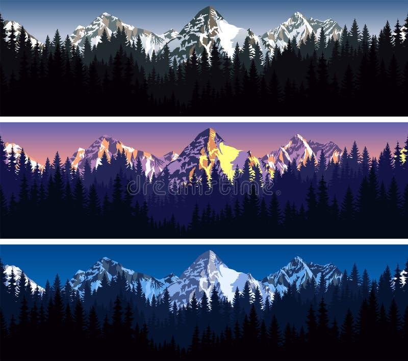 Grupo de teste padrão sem emenda da textura do fundo das montanhas do vetor ilustração royalty free