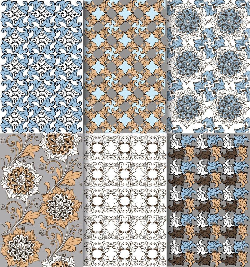 Grupo de teste padrão sem emenda floral oriental Azul e marrom Contexto decorativo do ornamento para a tela ilustração do vetor