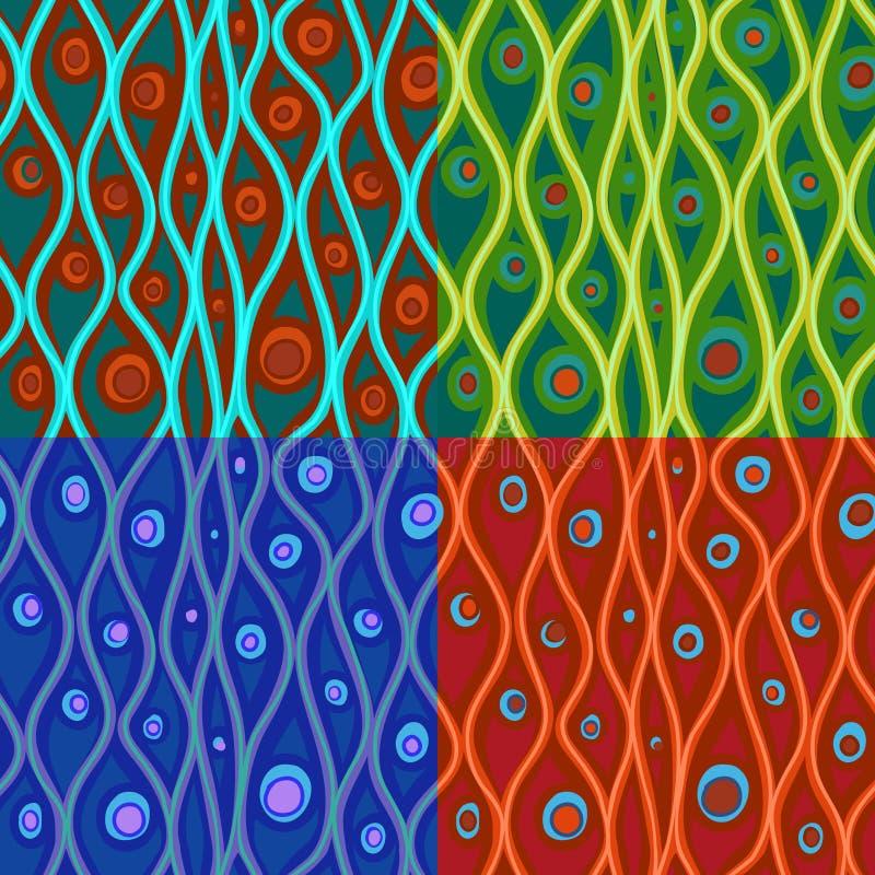 Grupo de testes padrões abstratos em quatro combinações de cor ilustração stock