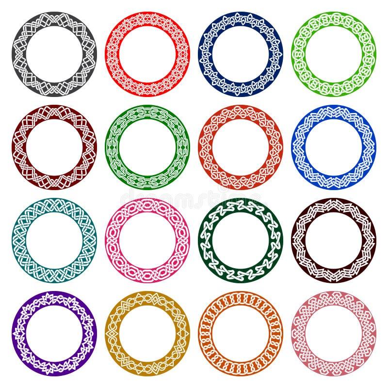 Grupo de testes padrões circulares no céltico que ata o estilo ilustração stock