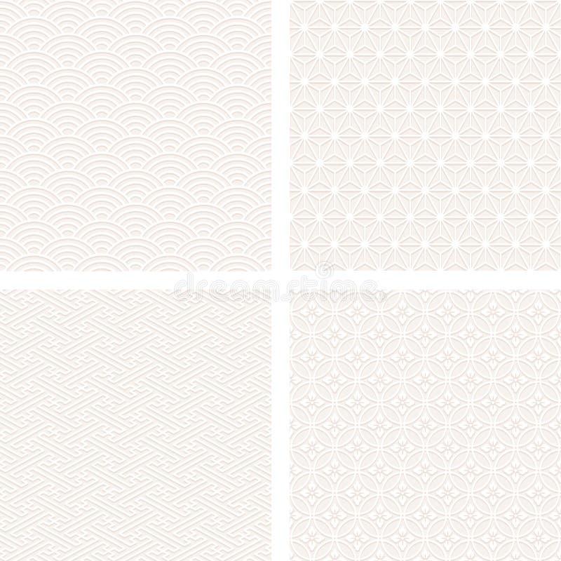 Grupo de testes padrões com projeto tradicional japonês. ilustração stock