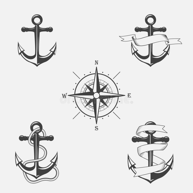 Grupo de testes padrões do vintage no tema náutico Ícones e elementos do projeto ilustração royalty free