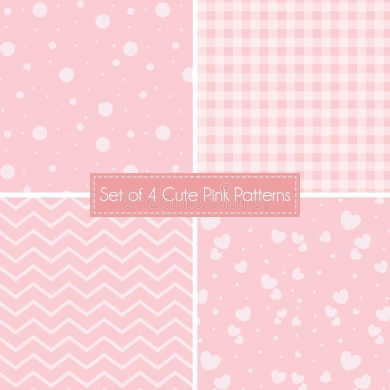 Grupo de 4 testes padrões e texturas cor-de-rosa bonitos ilustração stock