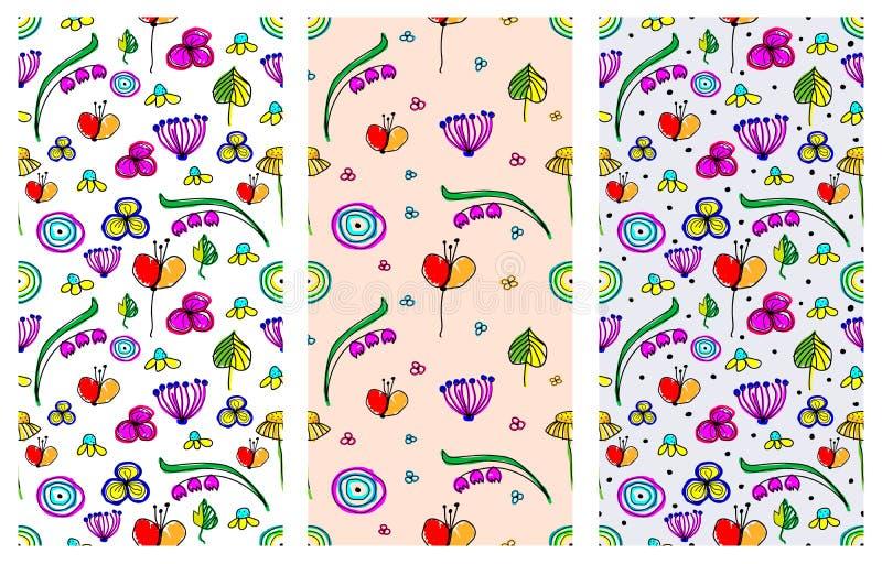 Grupo de testes padrões florais infanteis do vetor sem emenda Mão bonito fundos infinitos tirados com flores criançolas e folhas  ilustração stock