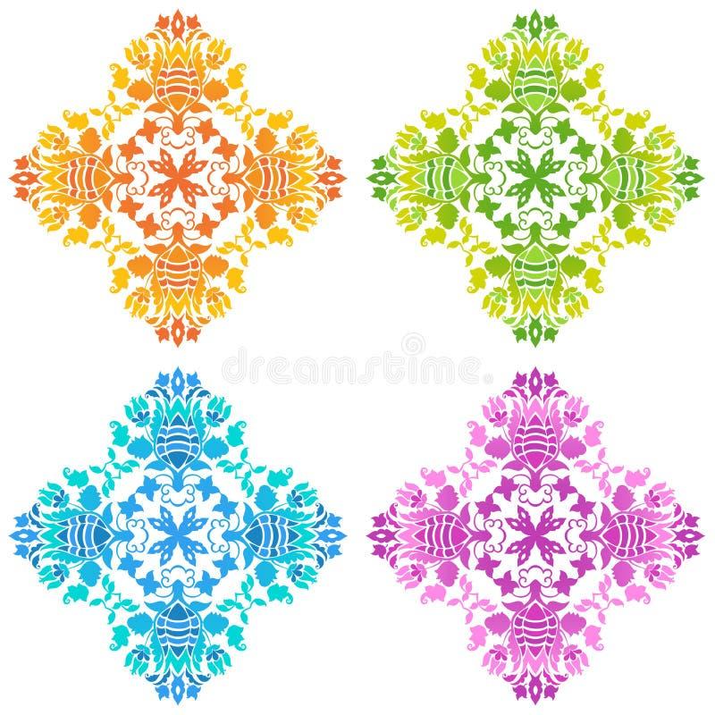 Grupo de testes padrões florais redondos ilustração royalty free