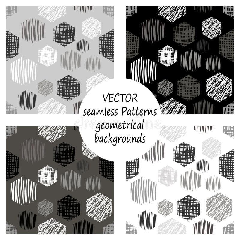 Grupo de testes padrões geométricos cinzentos do vetor sem emenda com figuras geométricas, formulários fundo infinito pastel com  ilustração do vetor