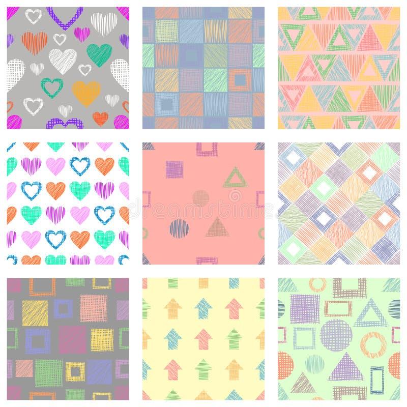 Grupo de testes padrões geométricos do vetor sem emenda com figuras geométricas diferentes, formulários fundo infinito pastel com ilustração stock