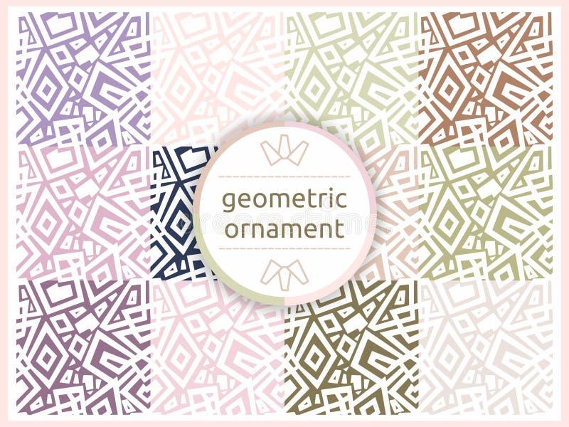 Grupo de testes padrões geométricos em tons delicados pasteis Teste padrão sem emenda, fundo, textura Ornamento do vetor Telhas d ilustração stock