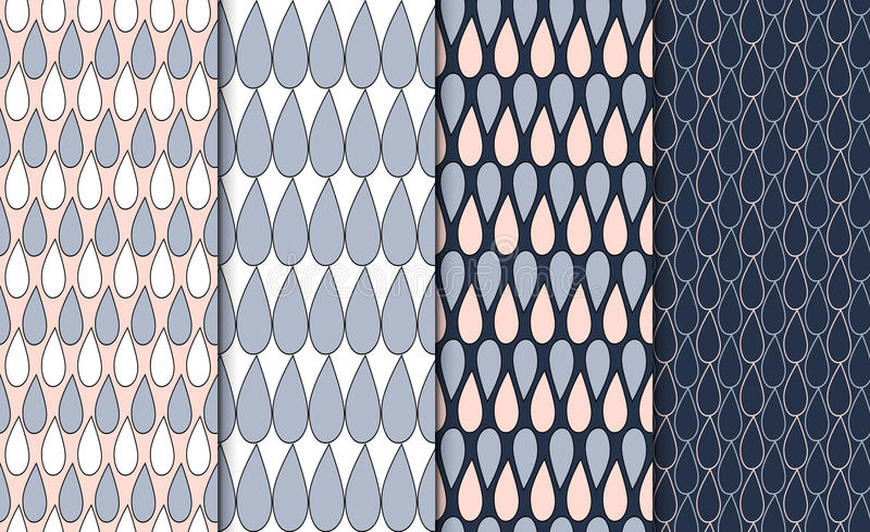 Grupo de testes padrões geométricos esboçados simples Grupo minimalistic linear do fundo 4 texturas de repetição com motivo da go ilustração do vetor