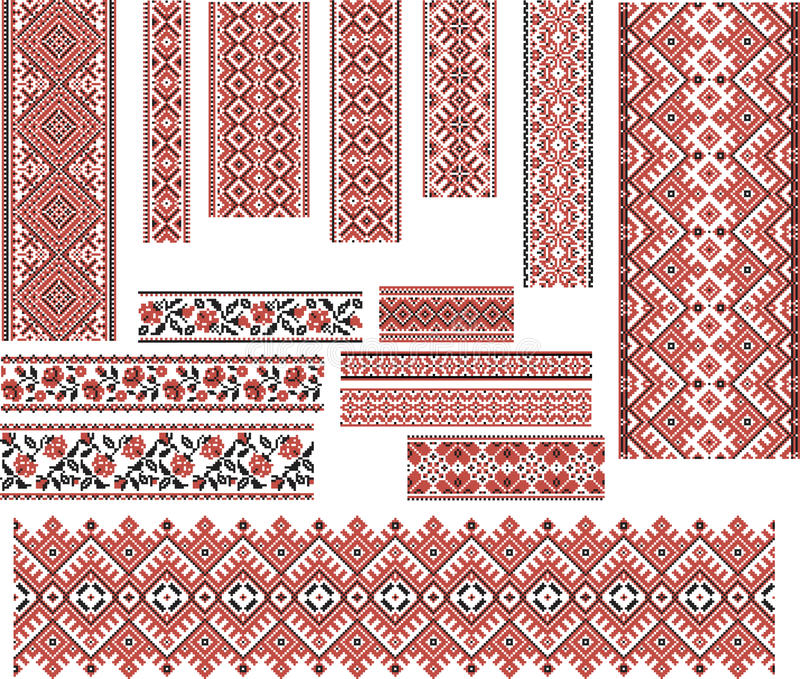 Grupo de testes padrões para o ponto do bordado Vermelho e preto ilustração do vetor