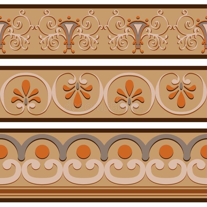 Grupo de testes padrões romanos antigos da beira dos ornamento ilustração royalty free