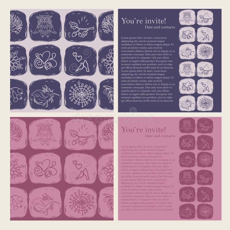 Grupo de testes padrões sem emenda bonitos e de moldes para cartões ilustração do vetor