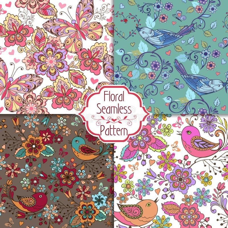 Grupo de testes padrões sem emenda coloridos com pássaros, borboletas, flores Contexto decorativo do ornamento para a tela, matér ilustração do vetor