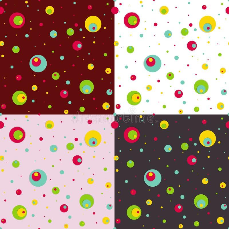 Grupo de testes padrões sem emenda com círculos coloridos. ilustração royalty free