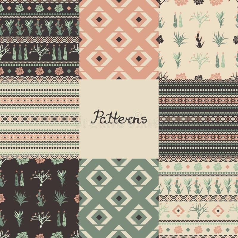 Grupo de testes padrões sem emenda com formas geométricas, plantas carnudas e cactos Oito texturas ilustração do vetor