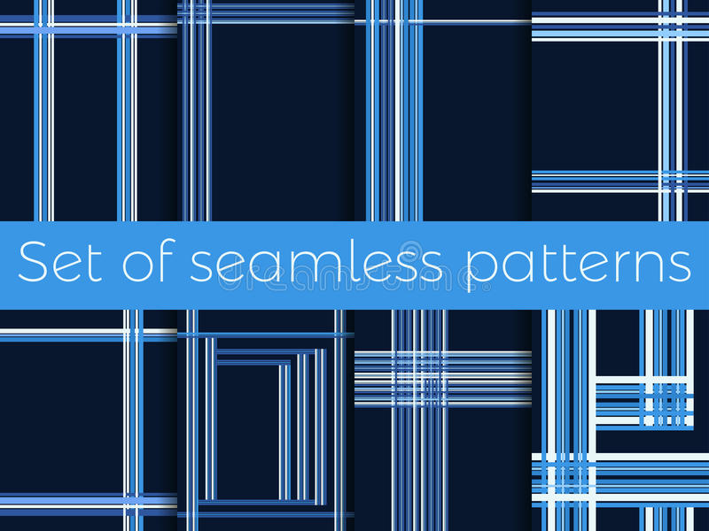 Grupo de testes padrões sem emenda com listras em uma gaiola Linhas em um fundo azul Vetor ilustração royalty free