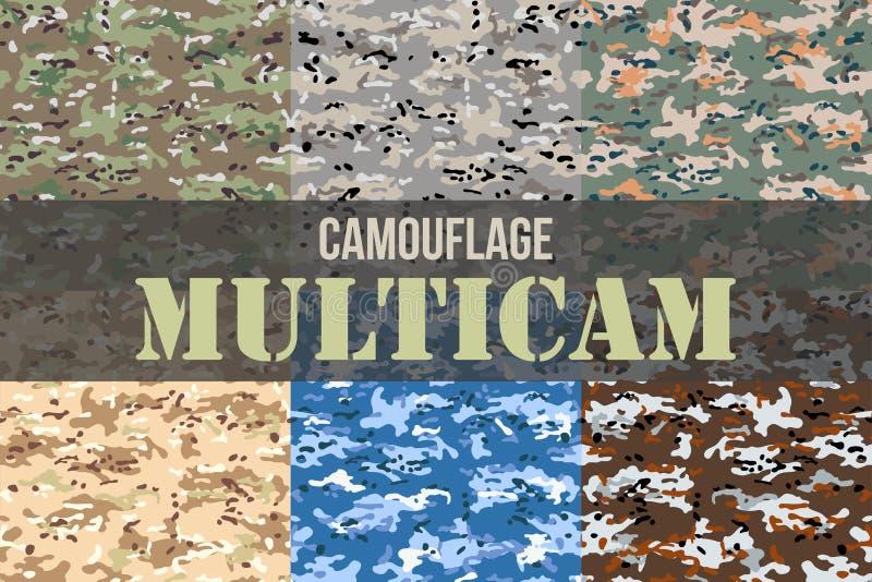 Grupo de testes padrões sem emenda da camuflagem de Multicam ilustração royalty free