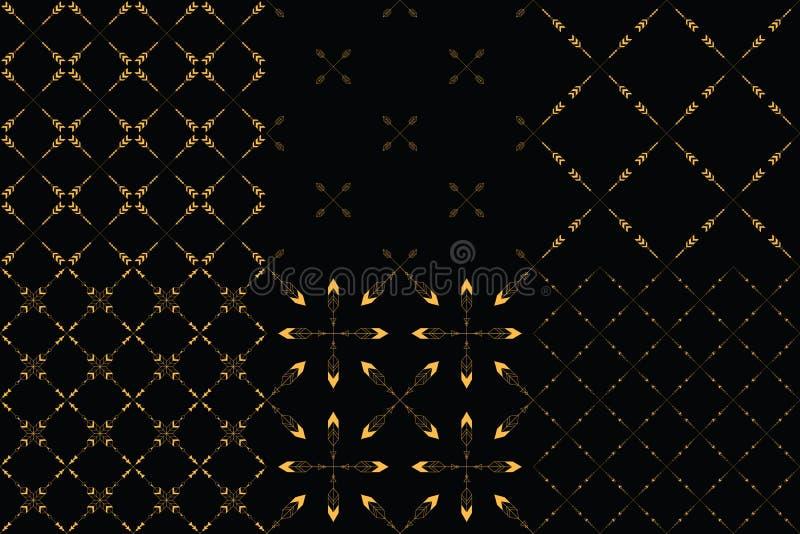 Grupo de 6 testes padrões sem emenda do minimalismo tribal ilustração stock