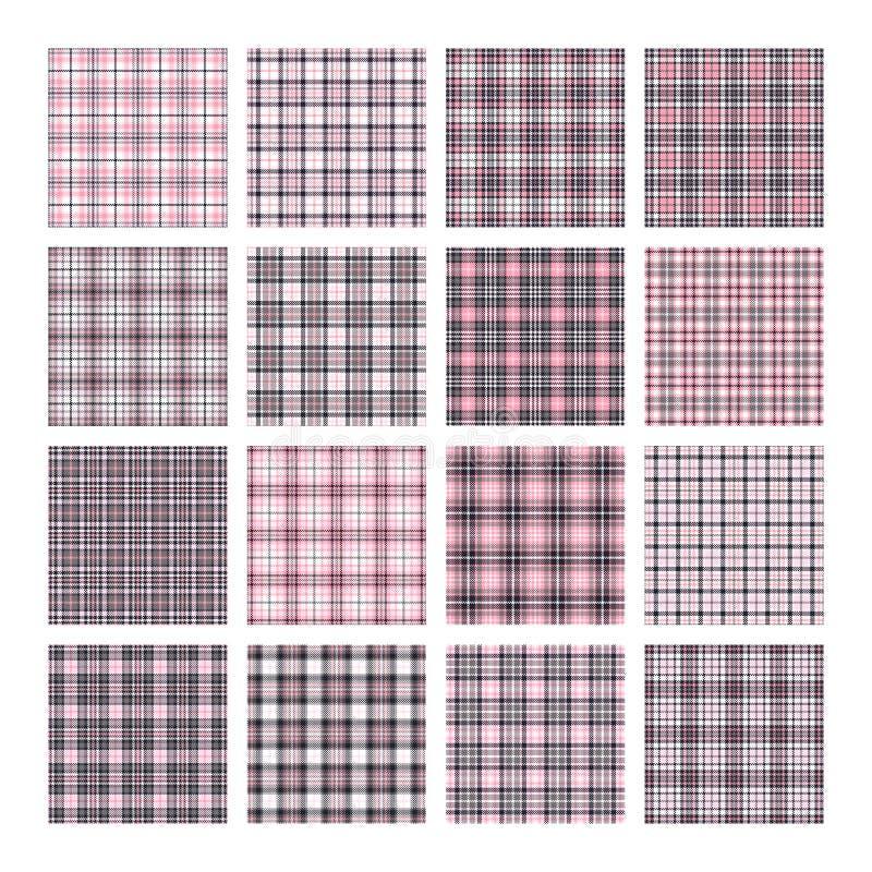 Grupo de 16 testes padrões sem emenda do vetor da tartã Textura quadriculado da manta Fundo quadrado geométrico para a tela ilustração do vetor