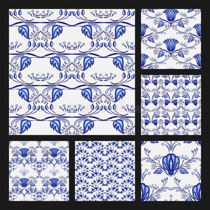 Grupo de testes padrões sem emenda florais no estilo étnico da pintura nacional da porcelana Teste padrão azul bonito em um fundo ilustração stock