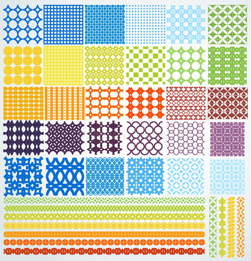 Grupo de testes padrões sem emenda geométricos. ilustração royalty free