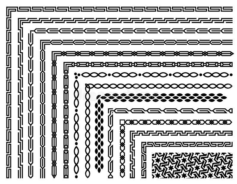 Grupo de testes padrões sem emenda geométricos da beira no estilo oriental ilustração royalty free