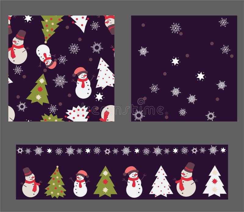 Grupo de 3 testes padrões sem emenda no projeto das cores do Natal ilustração do vetor
