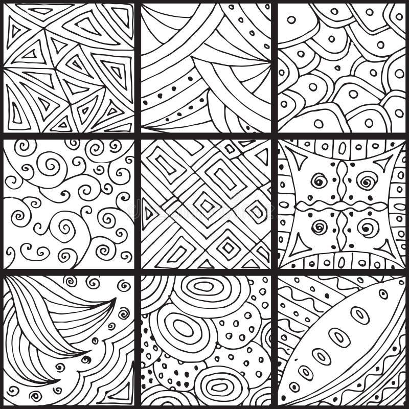 Grupo de testes padrões, zentangle ilustração stock