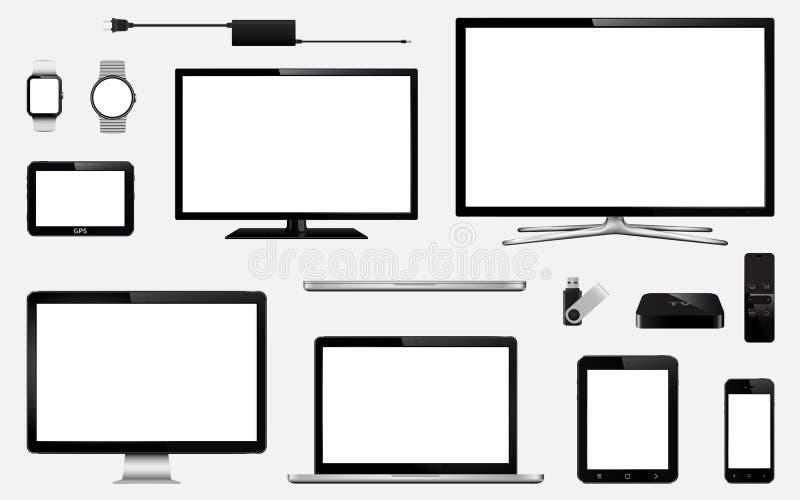 Grupo de tevê esperta realística, monitores do computador, portáteis, tabuleta, telefone celular, relógio esperto, movimentação d ilustração do vetor