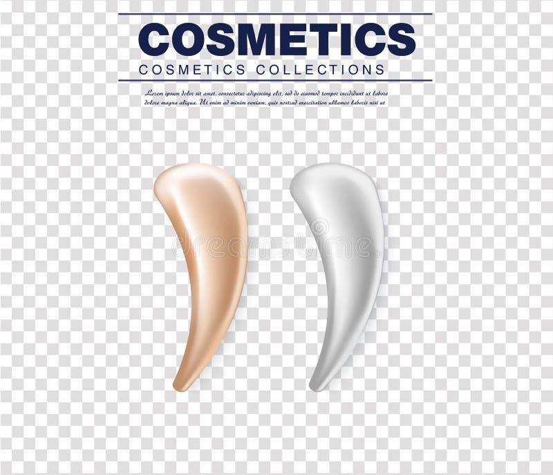 Grupo de textura de creme branca cosmética Creme da pele realística, gel ou gota cosmética da espuma isolados no fundo branco Vet ilustração stock
