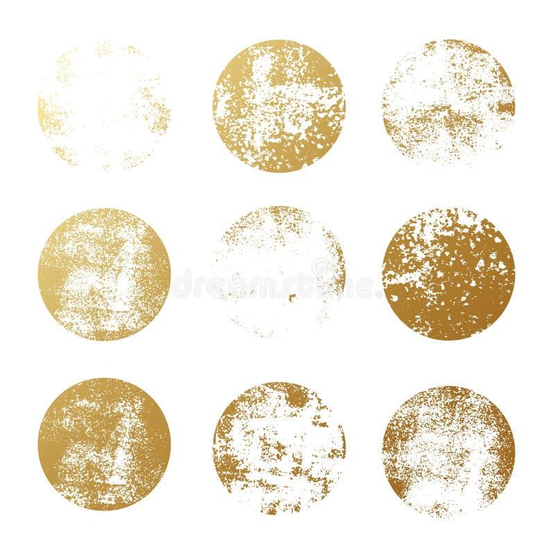 Grupo de texturas redondas da folha dourada para logotipos, etiquetas, marcando, quadros Selos textured do círculo da folha do br ilustração do vetor