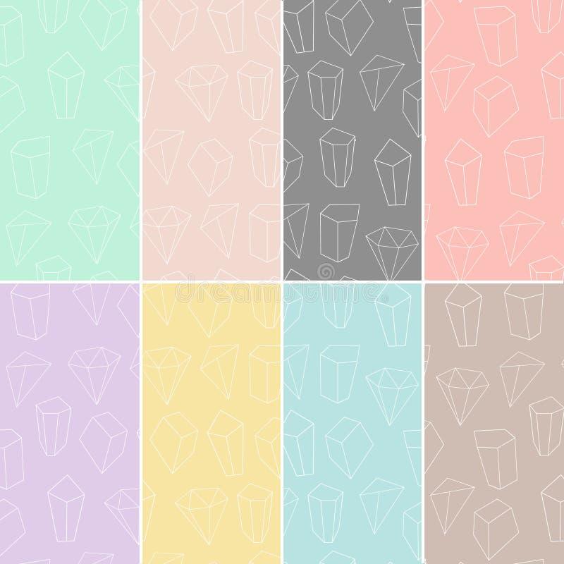 Grupo de 8 texturas sem emenda com formas geométricas e cristais do esboço Coleção moderna dos testes padrões do moderno Ilustraç ilustração do vetor