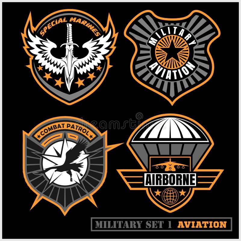 Grupo de tipografia das forças armadas e do crachá e dos remendos do exército, para a camisa de t e a outro usos ilustração do vetor