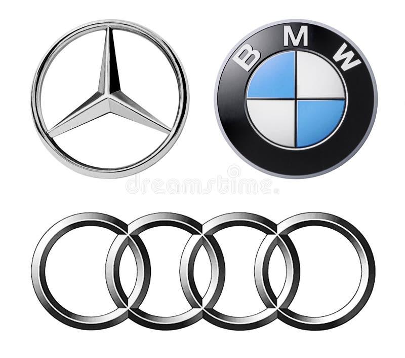 Grupo de tipos alemães populares dos logotipos dos carros ilustração stock