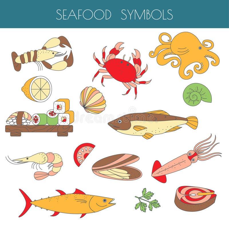 Grupo de tipos diferentes de animais marinhos e de fis como um marisco ilustração do vetor