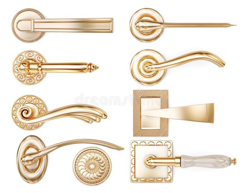 Grupo de tipos diferentes de puxadores da porta rendição 3d ilustração stock