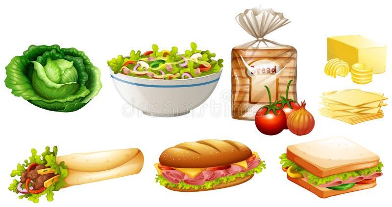 Grupo de tipos diferentes do alimento ilustração stock
