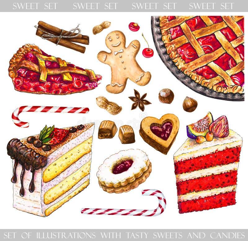 Grupo de tiragem com doces saborosos e doces para o projeto ilustração stock