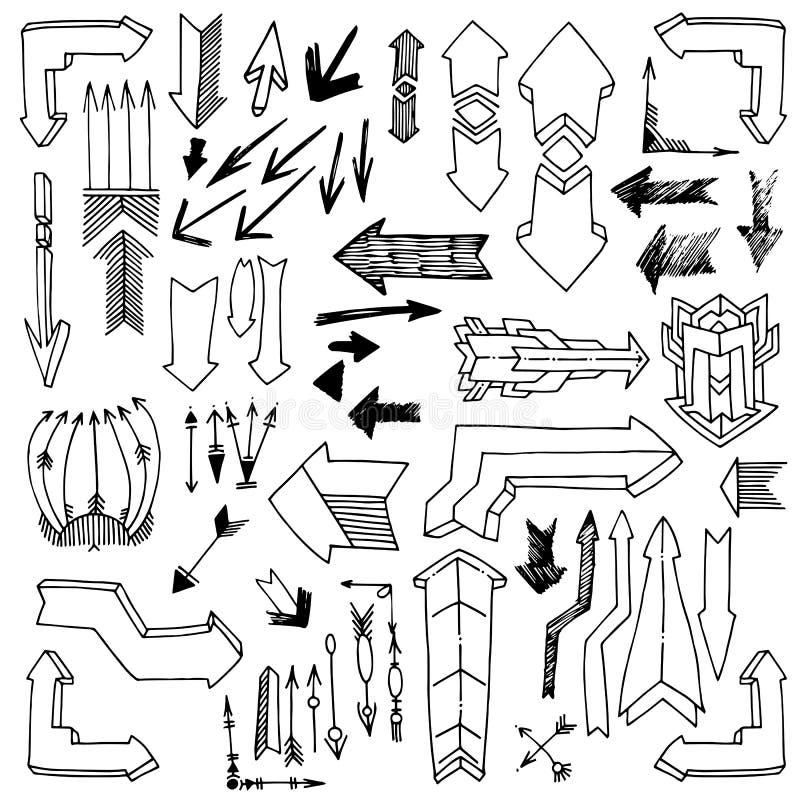 Grupo de tiragem de setas do vintage e do grunge, vetor esboçado ilustração do vetor